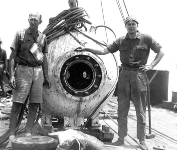 William Beebe and Otis Barton. Record breaking dive, 1934.