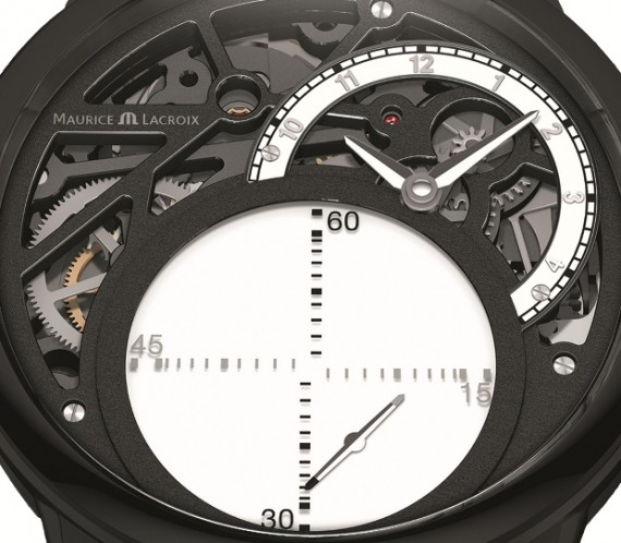 maurice lacroix masterpiece Seconde Mysterieuse in Black closeup