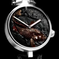 Angular Momentum Koi Watch. Richly textured dial uses tree sap.