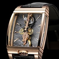 Corum Golden Bridge Tourbillon. World's tiniest cage houses tiny baguette movement.