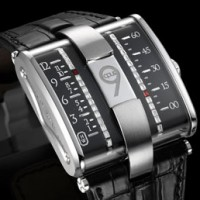 Harry Winston Opus 9 Watch features conveyor belt style indicators.