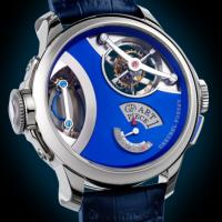 Greubel and Forsey watch displays sculpture, includes tiny microscope
