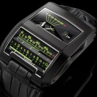 Urwerk UR-CC1 Black Cobra has linear and photolithographic indicators.